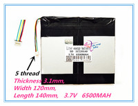 5 Thread The Tablet Battery 31120140 3 7V 6500MAH 3160140 2 Each Brand Tablet Universal Rechargeable