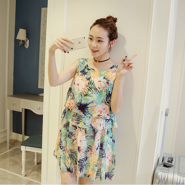 8e9fac3bd78 Korean style sleeveless maternity dress summer out nursing thin chiffon  floral dress pregnant women plus size breastfeed dress-in Dresses from  Mother   Kids ...