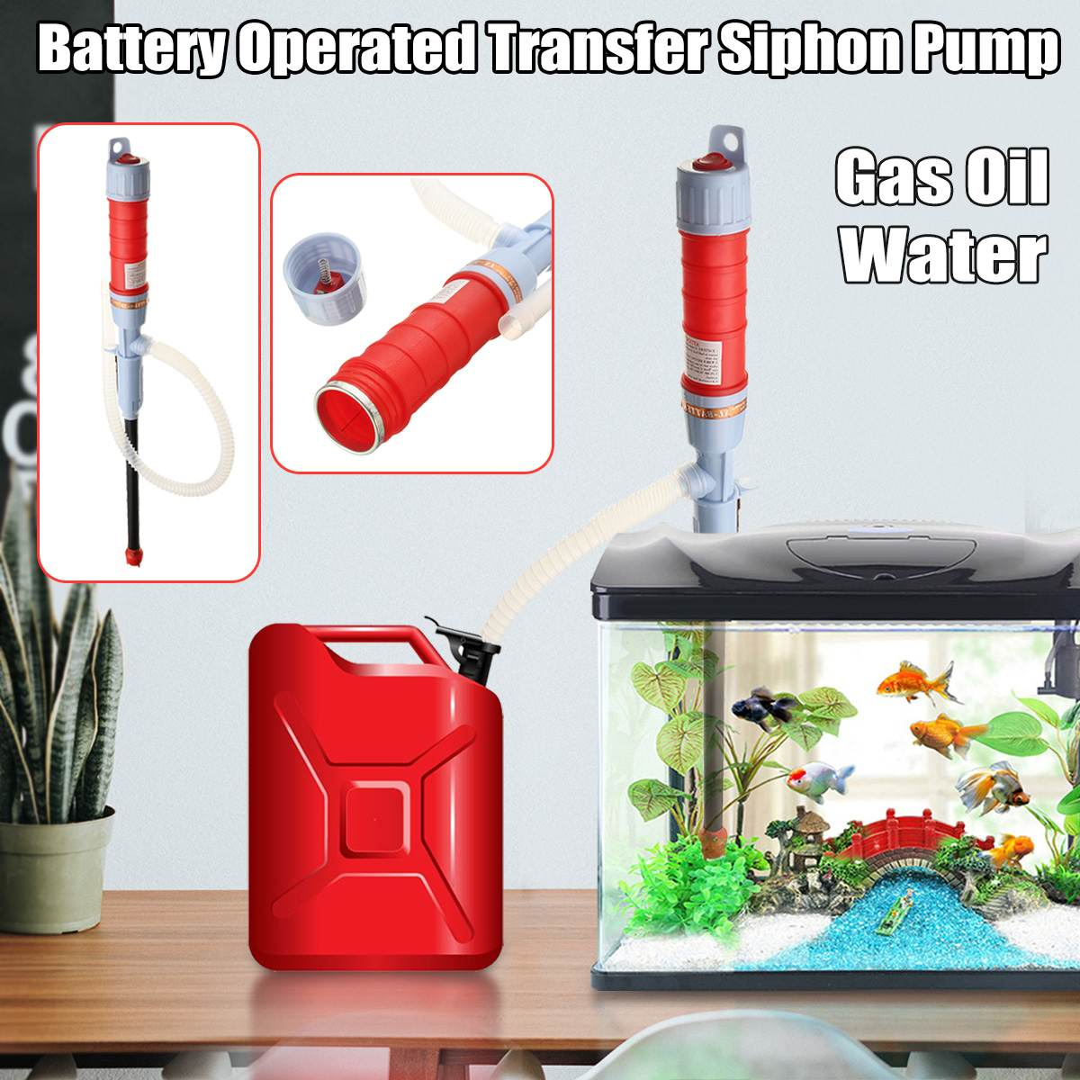 63cm Auto Vehicle Fuel Gas Transfer Suction Pumps Household Outdoor Portable Liquid Oil Electric Handheld Water Pump Car