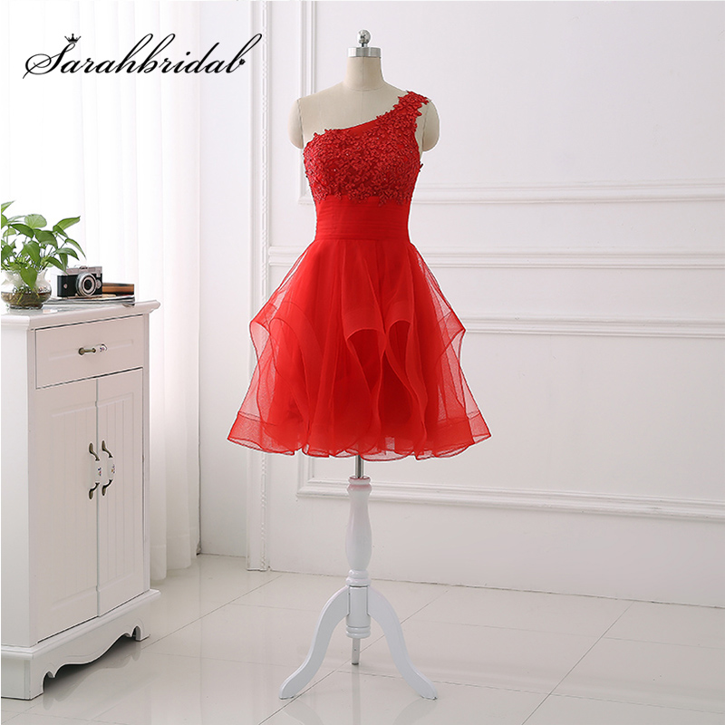 New Arrival Cheap One Shoulder   Cocktail     Dresses   Lace Appliques Top Tulle Ruffles Skirt Short Prom   Dress   Little Party Gowns OS432