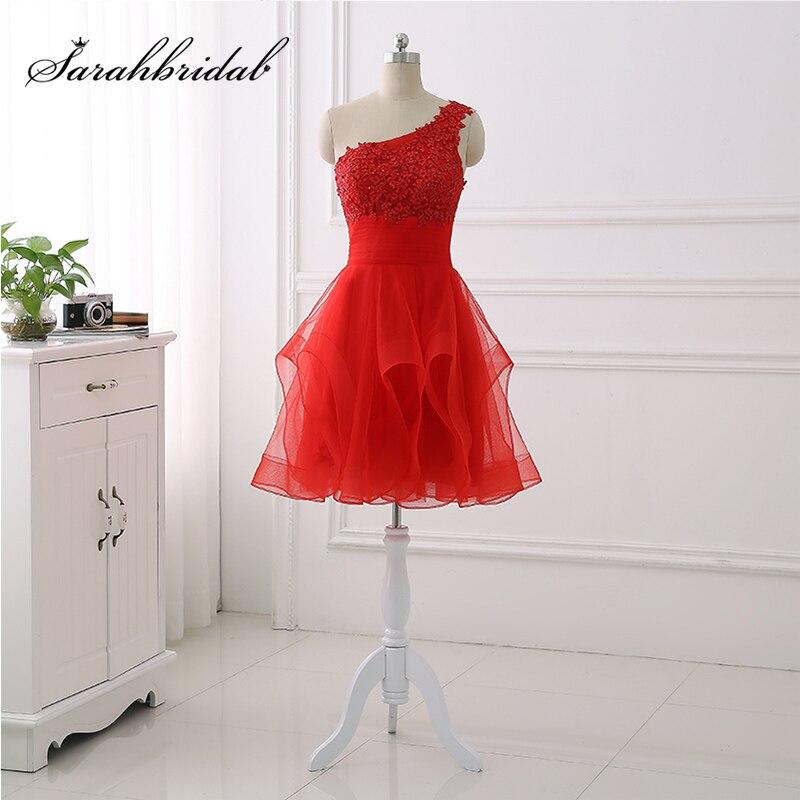 Nouveauté pas cher une épaule robes de Cocktail dentelle Appliques Top Tulle volants jupe courte robe de bal petites robes de soirée OS432