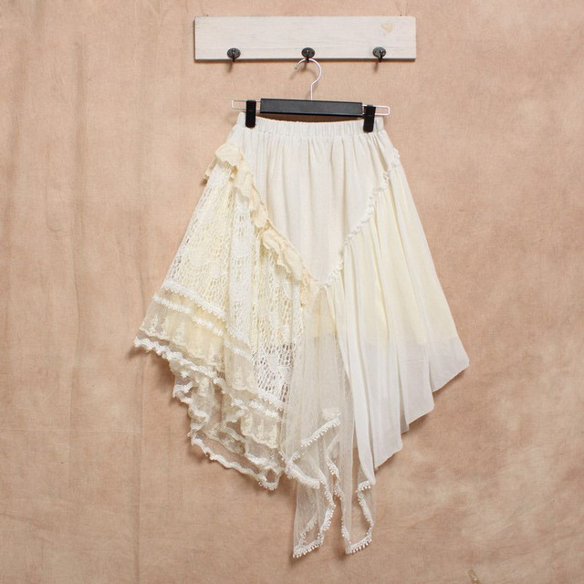 Lace Boho Linen Steampunk Harajuku Vintage Jupe Longue Gonna Dames Kleding Ensemble Jupe Et Haut Saia De Renda Fringe Rok Skirt