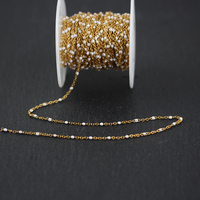 2mm,Wire Wrapped Golden Plated Stainless Steel Links Chains,White Enamel Tiny Beads Necklace Making