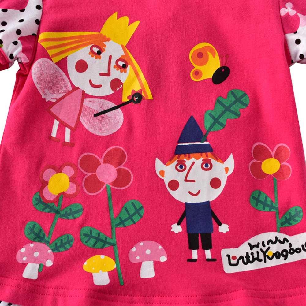JUXINSU Pamuk Karikatür Kız uzun kollu elbise Sonbahar Kış Kızlar için Elbiseler 1-6 Yıl