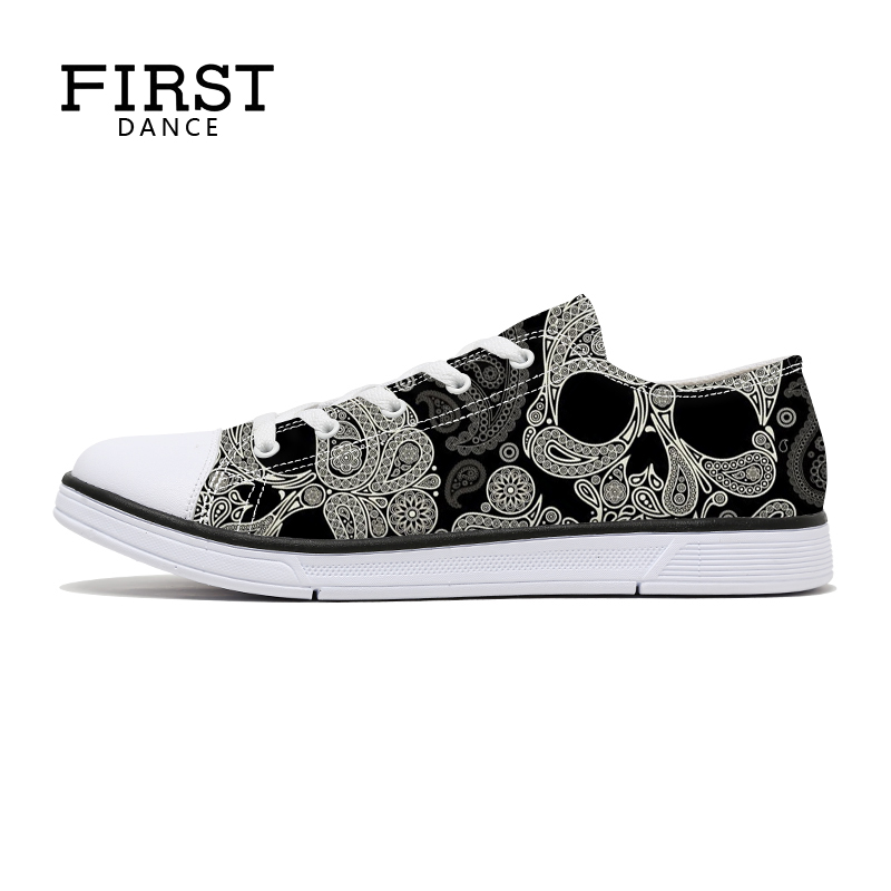 FIRST DANCE Low Top Skull Shoes For Women Paisley Girl Canvas Shoes Skull Printed Women Canvas Shoes Students Casual Shoes Women e lov fashion luminous constellation canvas shoes low top sagittarius horoscope graffiti casual walking shoes for women