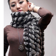 Free shipping 2016 new design Europe Fashion Knitted Genuine Rex Rabbit Fur Long Scarf Women Chinchilla Color Neck Warm Collar