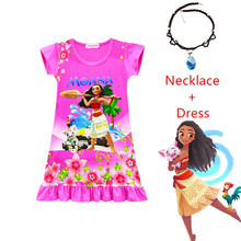 Knee-Length Moana Princess Dress Baby Girl Clothes Christmas Vaiana Costume With Necklace 3-9Y
