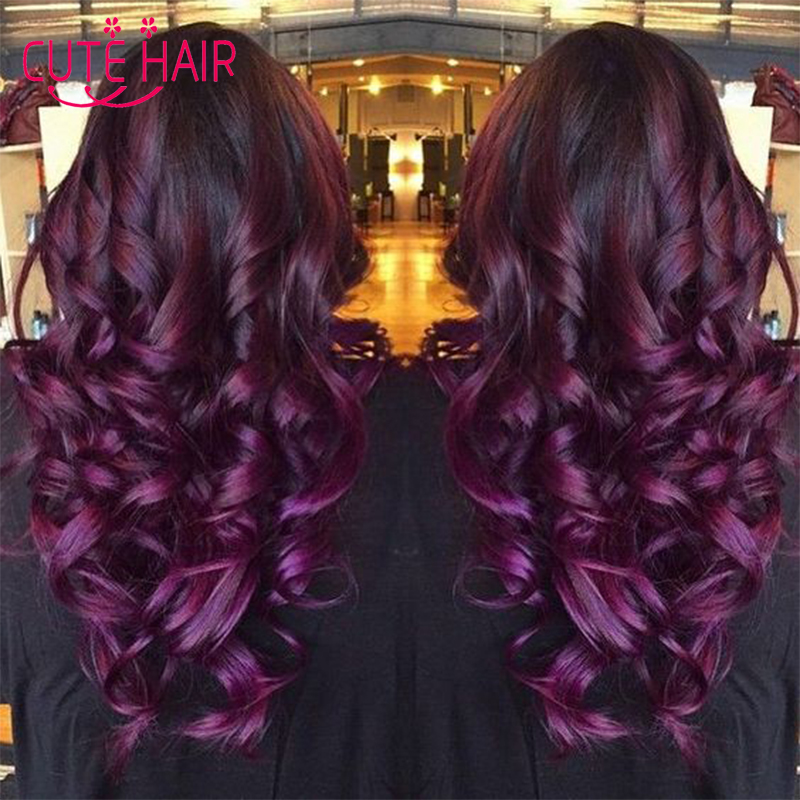 Popular purple weaves buy cheap purple weaves lots from china purple weaves suppliers on - Ombre hair carre ...
