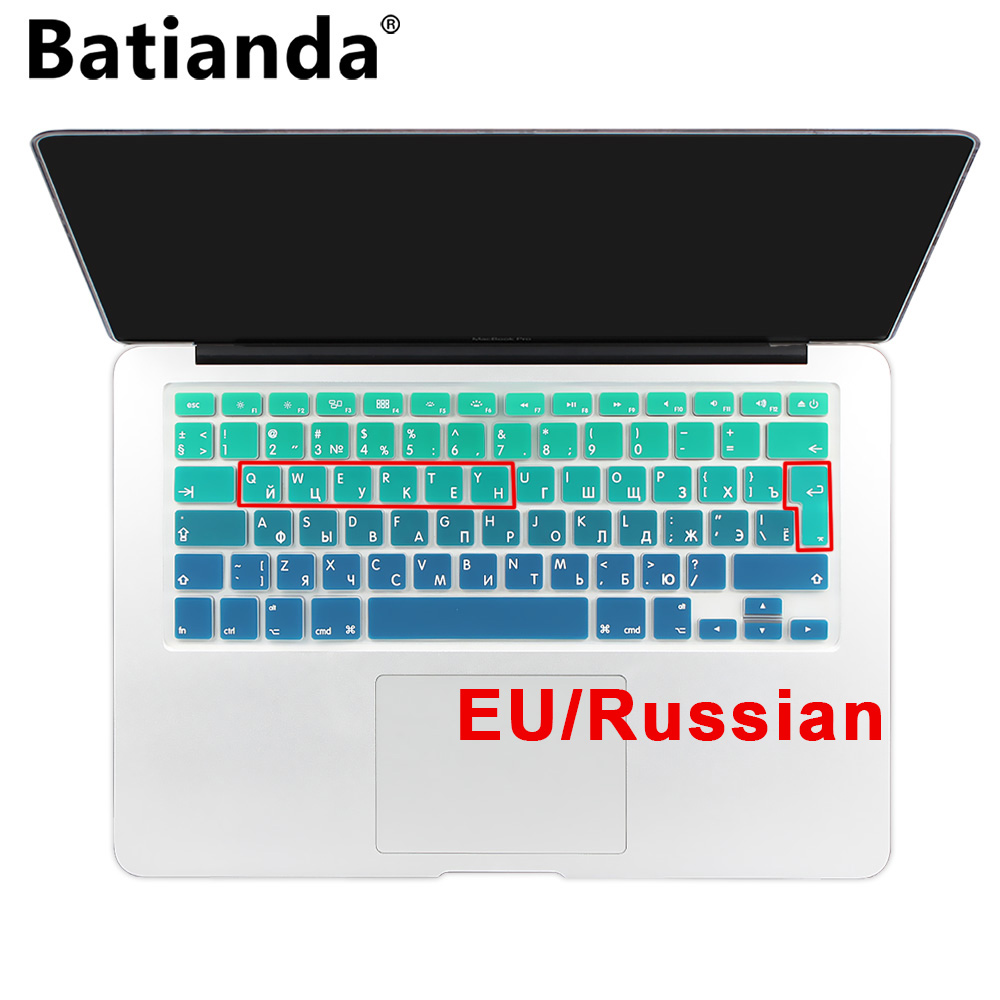 "Silicone EU / UK Russisch alfabet Kleurverloop Dekking voor toetsenbord Stickers voor MacBook Air 13 ""MacBook Pro 13"" 15 ""Retina"