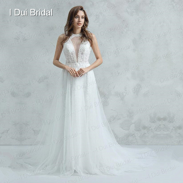O Neck Deep V Neck Wedding Dress with Detachable tulle Train luxury ...