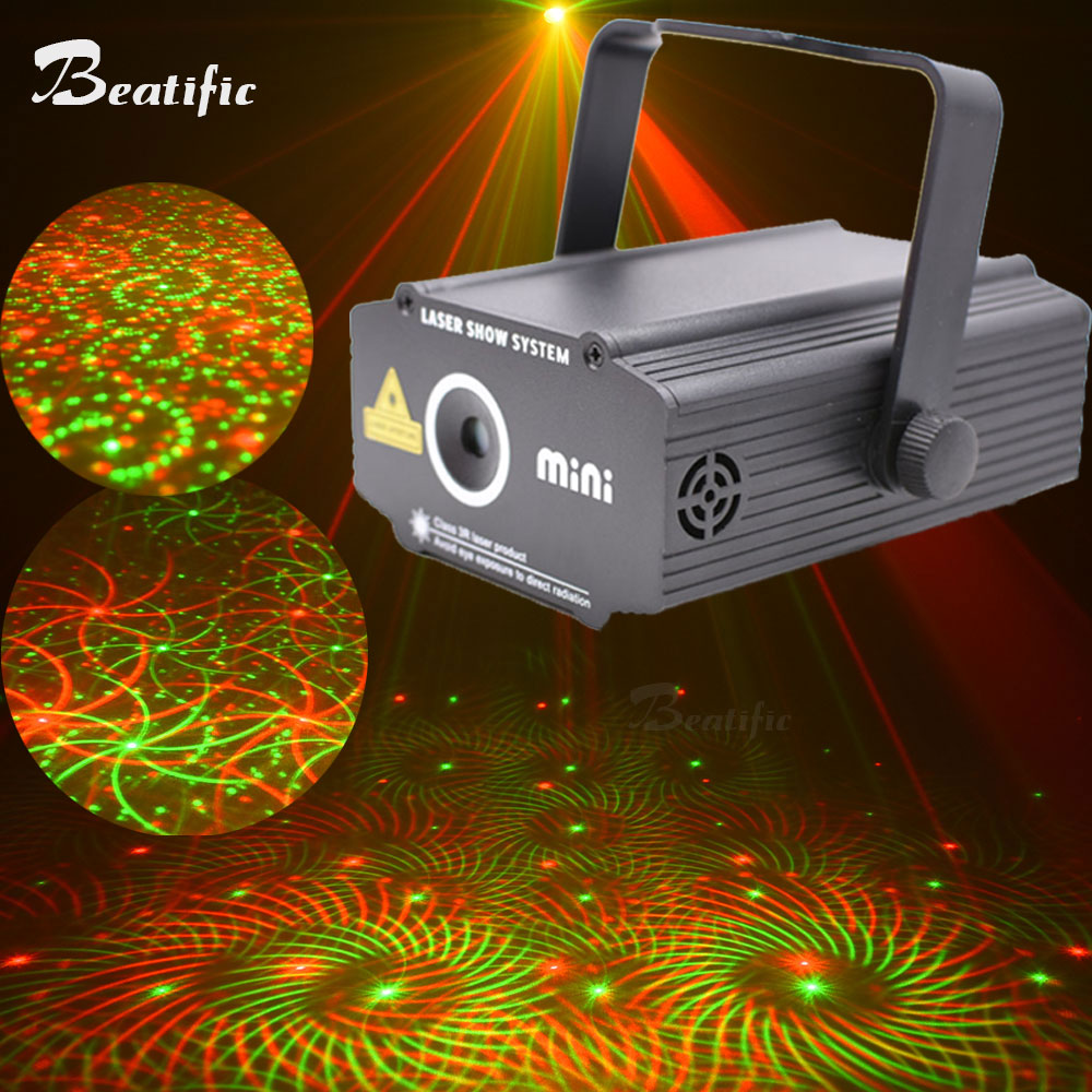 Mini Portable Meteor Laser Show System Stage Flash Lighting Double Color 4 Kinds Of Patterns Sound Control