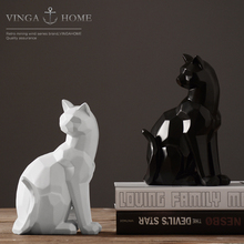Nordic resin abstract lucky cat figurines home decor crafts room decoration objects vintage ornament animal
