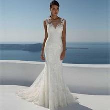 Boat Neck Mermaid Wedding Dress Cap Sleeve Illusion Back Court Train Bridal Gowns Lace Appliques Top illusion neck lace trim scallop top