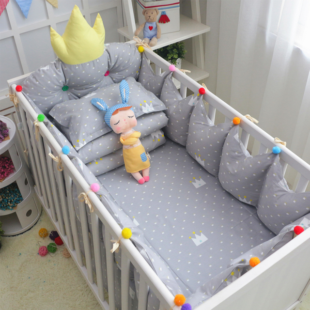 Hot Crown 5 pcs Detachable Crib Bedding Safe Protect Bumpers +Bed Sheet Cotton Baby Cot Bedding Set Multi Color and Sizes