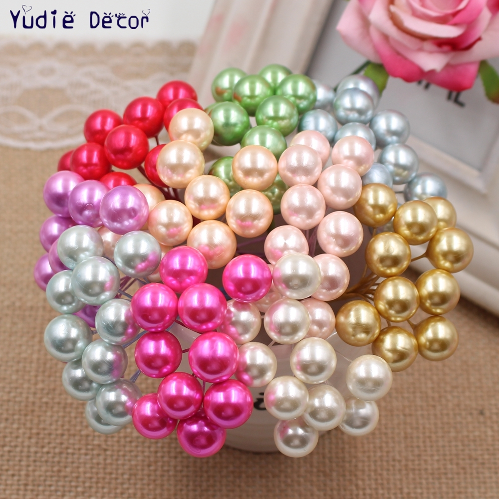 Cheap 50 Pcs/lot Artificial Large pearl bouquet For Wedding Home car Christmas party Decoration Craft Handmade DIY Supplies