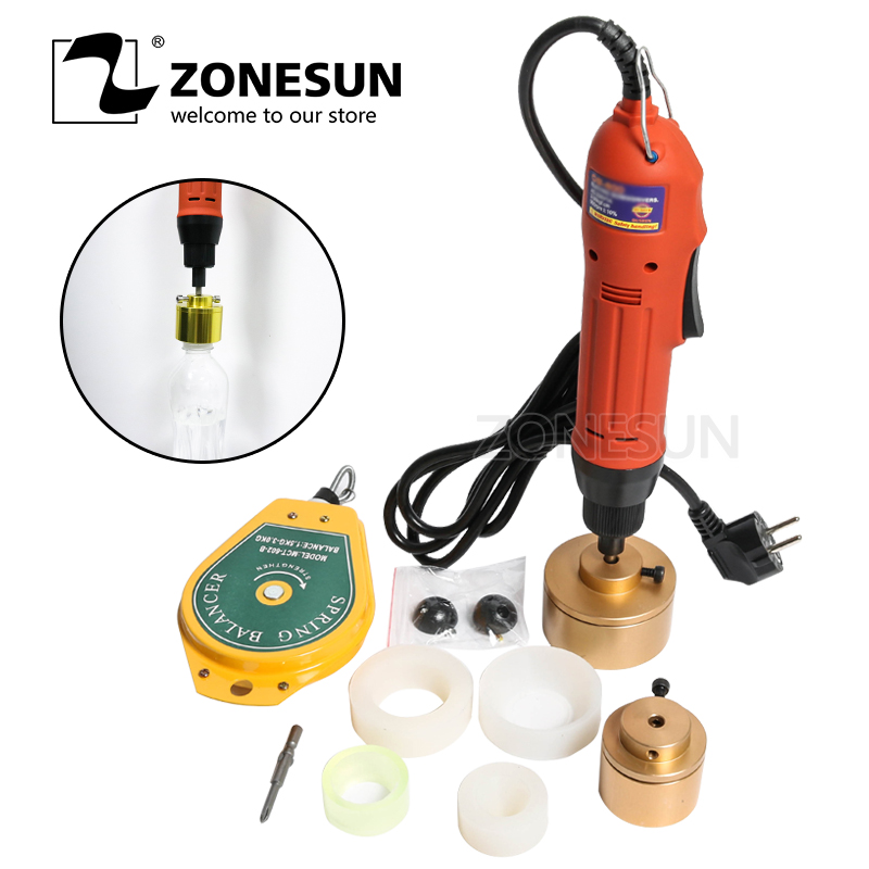 ZONESUN 28-32mm plastic bottle capper Portable automatic electric capping machine Cap screwing Machine electric sealing machine 10 50mm diameter portable pneumatic capping machine screw capping machine plastic bottle capper cap screwing machine