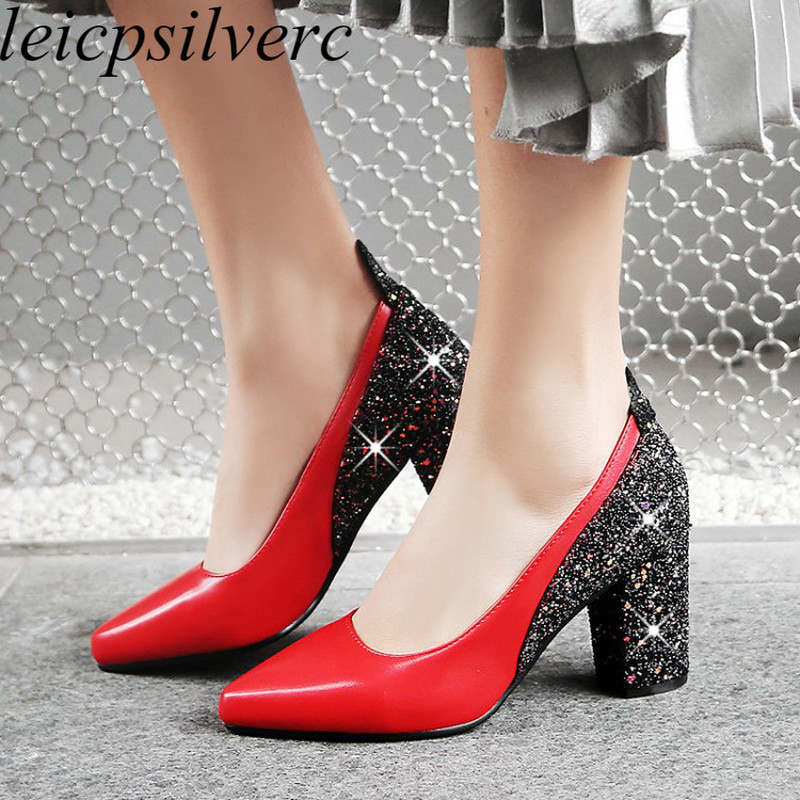 Women Pumps High-Heels Casual Shoes Wedding Pointed-Toe Black Sexy New-Fashion Mary Janes