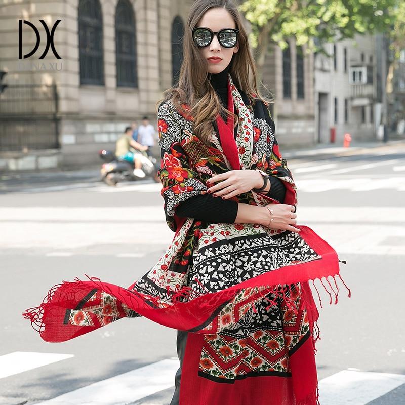 Image 2 - DANA XU 2019 New Scarf Women Luxury Brand Foulard Femme Pure Wool Bufanda Mujer Casaco Feminino Pashmina Fashion Red Pashmina-in Women's Scarves from Apparel Accessories