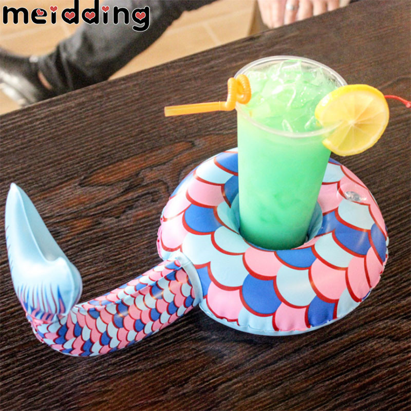MEIDDING 1Pcs Mermaid Tail Drink Cup Holder Summer Pool Wine Drink Cup Holder Inflatable Cup Decoration Birthday Party Supplies