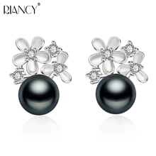 Fashion pearl earrings black natural freshwater 925 sterling silver jewelry for women  birthday present