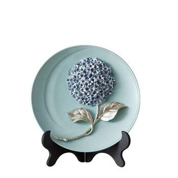 Luxury Resin Handmade Hydrangea Home Wall Hanging Plate Craft Decoration Wall Background Dish Mural Figurine Wedding Gift R1643