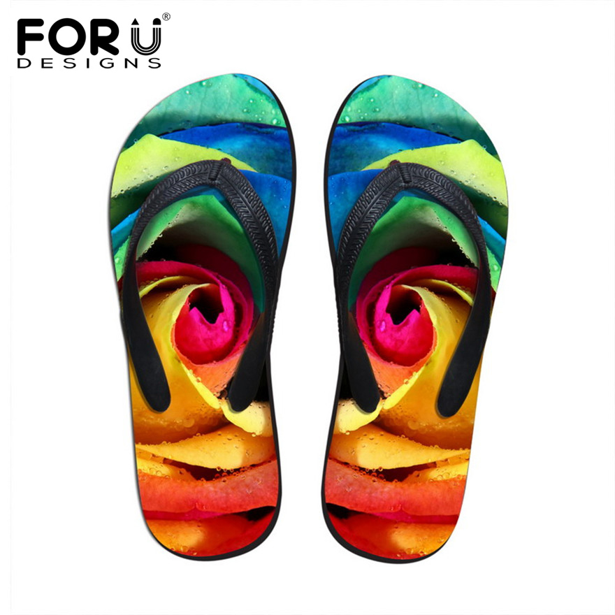 58dfe3912a0f FORUDESIGNS 3D Colorful Floral Printing Slippers for Women Fashion Summer Beach  Shoes Rubber Sandals Female Flower Flip Flops