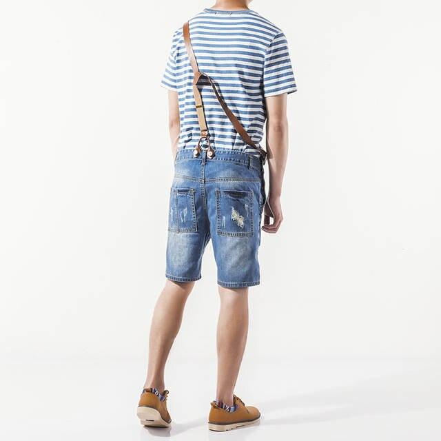 10bdba0784c8 Denyblood Jeans Mens Distressed Jeans Ripped Denim Overalls Bibs Shorts  Jumpsuite for Men Denim Shorts Fashion