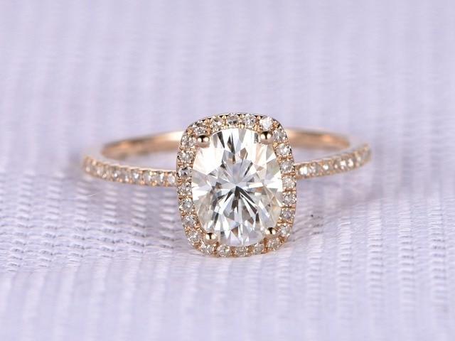Myray mm oval moissanite k yellow gold diamond halo thin band