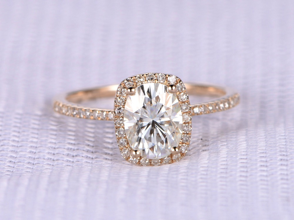 MYRAY 6x8mm Oval Moissanite 14k Yellow Gold Diamond Halo Thin Band Engagement Wedding Ri ...