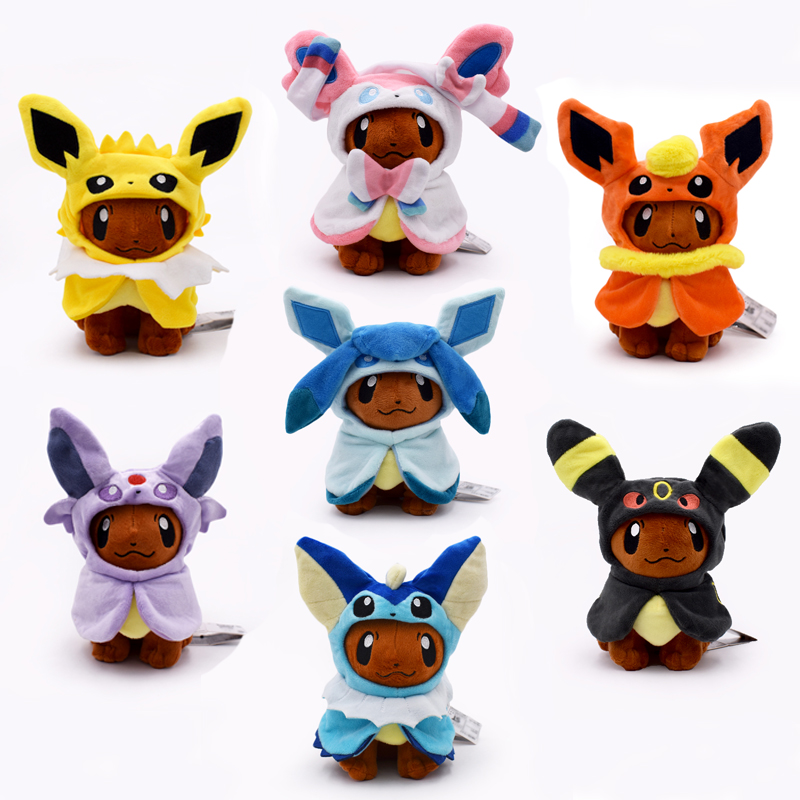 7 Styles Eeveelution Eevee Cosplay Jolteon Espeon Umbreon Flareon Glaceon Vaporeon Sylveon Plush Toy Anime Dolls Free Shipping