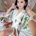 2016 зима высокое качество темно-зеленый женский район одеяние кимоно ванна платье китай леди ночной рубашке mujer платье