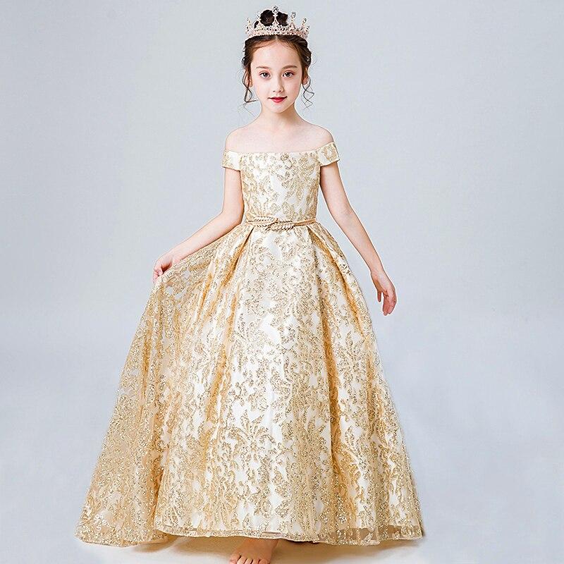 04513941de4 Children s Dress Girls Show Costumes Catwalk Princess Gown Gold Sequins  Bling Bling Wedding Birthday Evening Dress. sku  32961849188