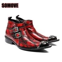 Brand Men Boots High Quality Italian Fashion Genuine Leather Hip Hop Style Locomotive Boots Brush Iron