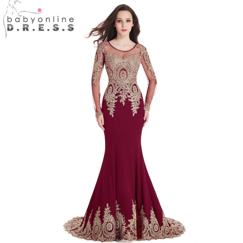 Babyonlinedress Mermaid Lace Long Sleeve   Evening     Dresses   Satin Appliques Beaded Court Train   Evening   Gowns Robe De Soiree Longue