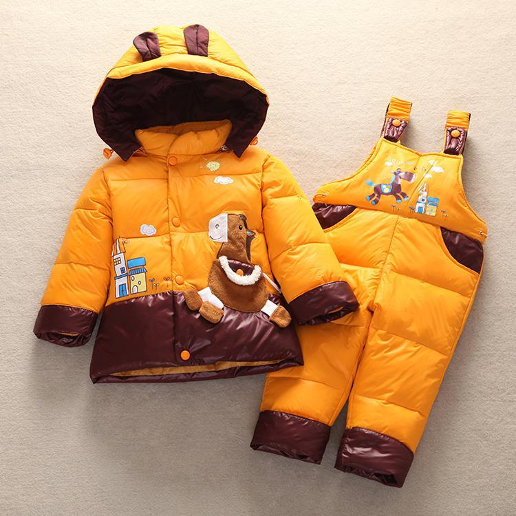 b17e642f2c05 Dropwow 2018 Winter Children Baby Kids Duck Down Jacket Set Pants ...