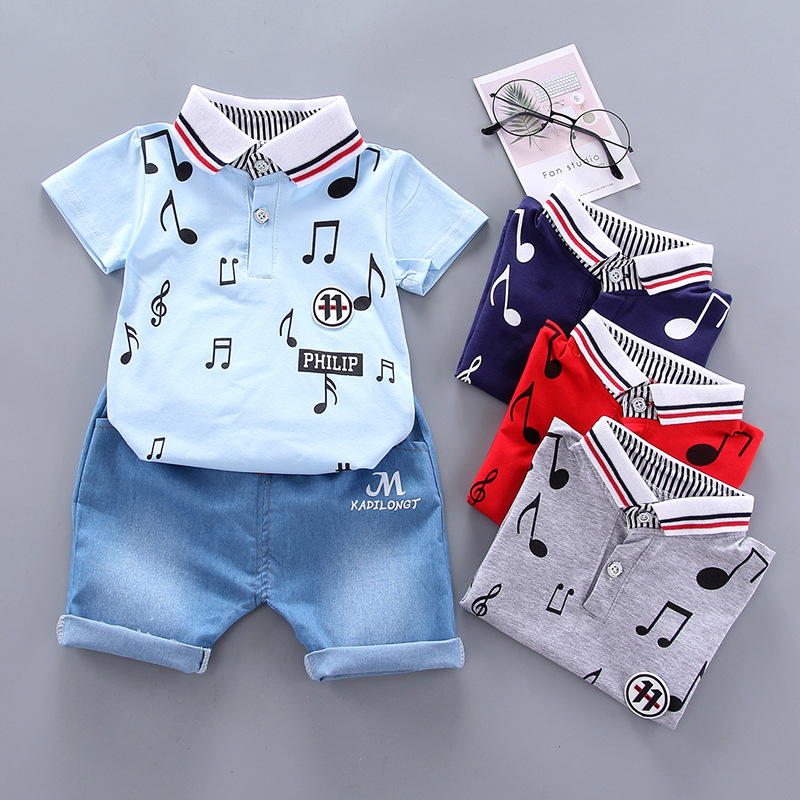 Summer Baby Boys Clothing Set New Brand Short Sleeved Coats + Shorts Suit Cartoon Clothing Boys Boutique Outfit 2 Piece Sets