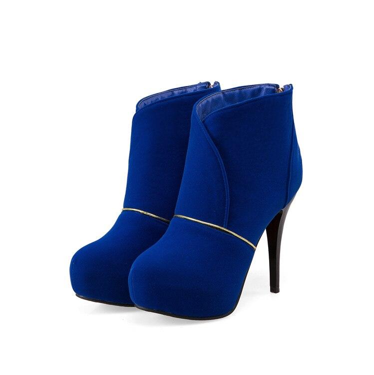 Invierno Negro Mujeres Botas Fino Tacón Tamaño Punta De 2 Y Calidad Zapatos rojo Grande azul Botines Hebilla Ronda Moda 46 T703 32 Con rrXR6nY