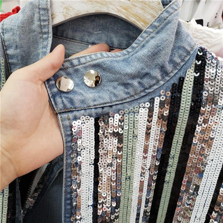 Denim Pull Jeans Corde Montant Base Printemps Lâche Col Taille Femme Trou De Coupe Bleu Automne Veste Manteau Manteaux vent Paillettes 4TIIqpE