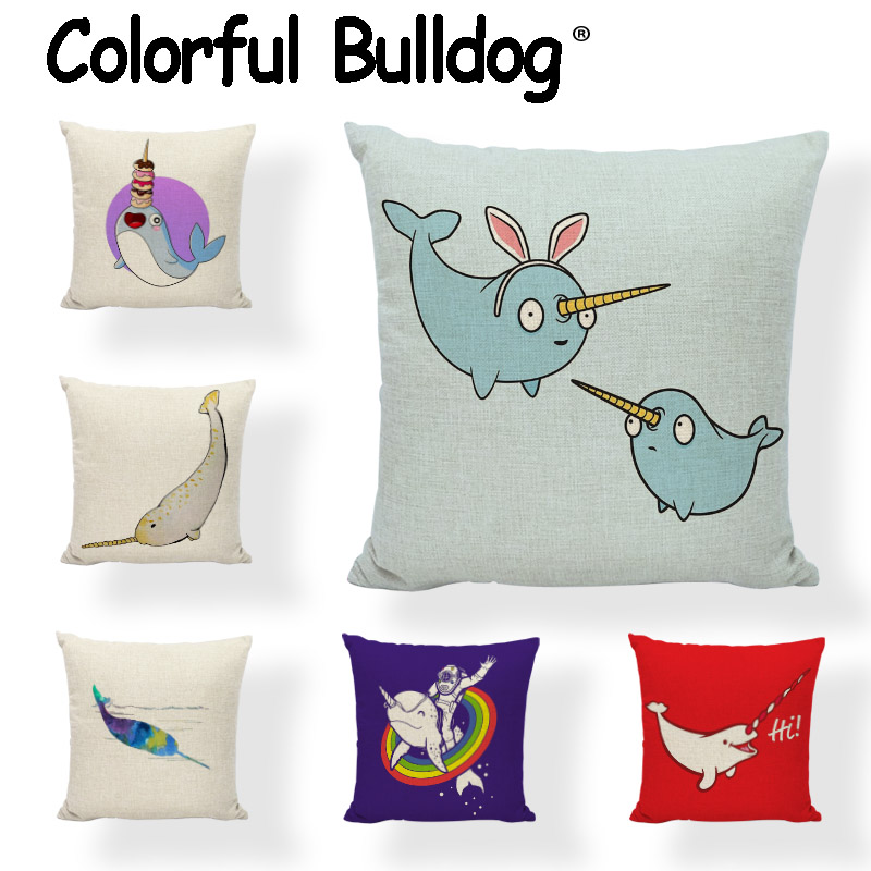 Selling Cartoon Cushion Covers 45*45cm 30*50cm Narwhal Donut 1 Printing Car Seat Bedroom Sofa Home Decoration Throw Pillow Cases