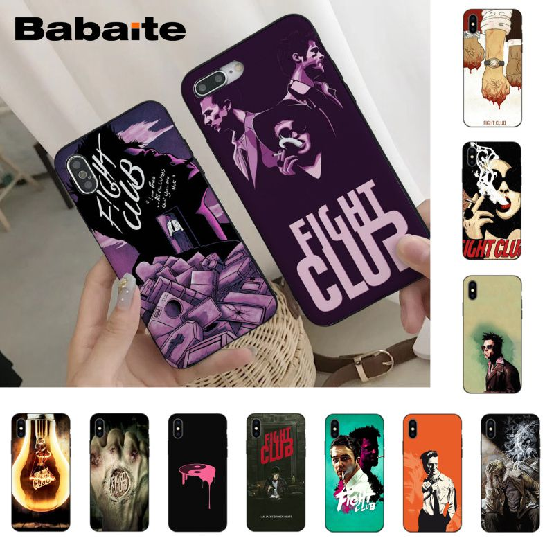 Babaite Fight Club movie phone case cover for iPhone 6S 6plus 7 7plus 8 8Plus X Xs Xr XsMax 5 5S 5C SE11 11pro 11promax image
