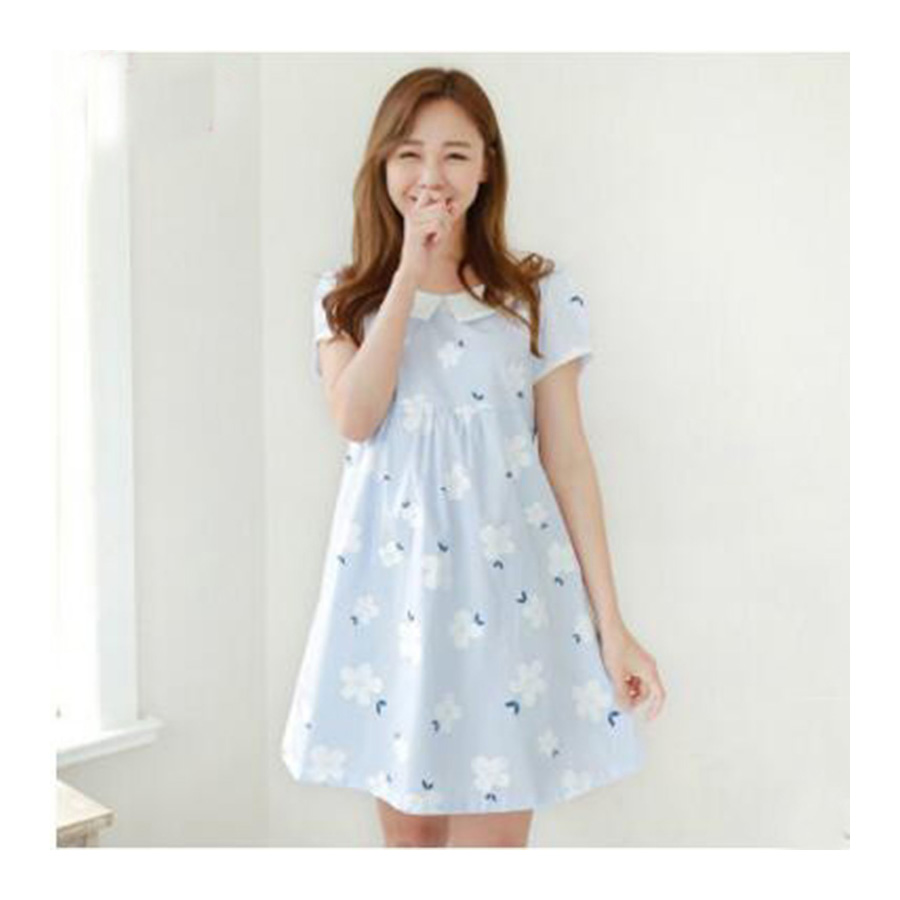 Summer New Style Print Dress For Maternity Peter Pan Collar Knee-Length Dress For Pregnant Women Cotton Dresses For Pregnancy 2016 summer new maternity clothes for the pregnant women 100% cotton fashion maternity dress doll dress big size gravida clothes
