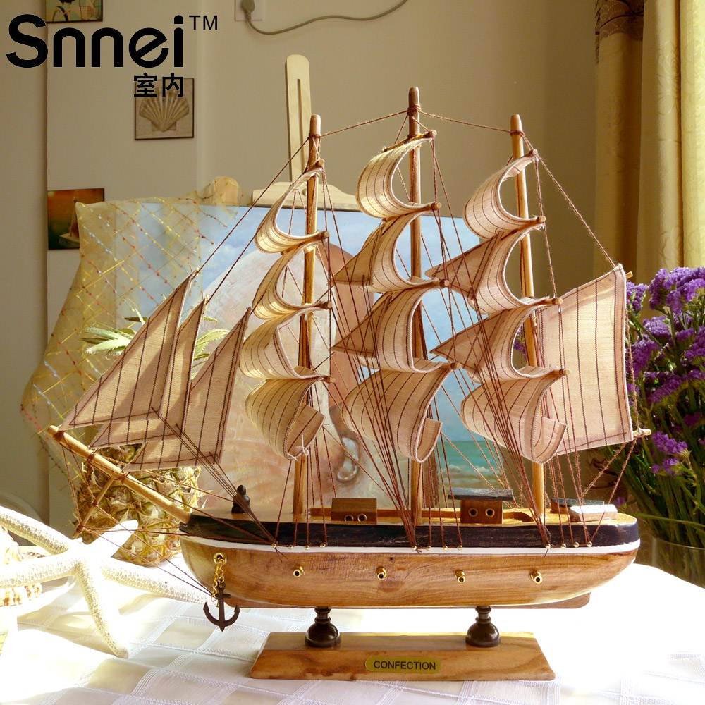 Snnei wool sailboat model decoration small wooden boat