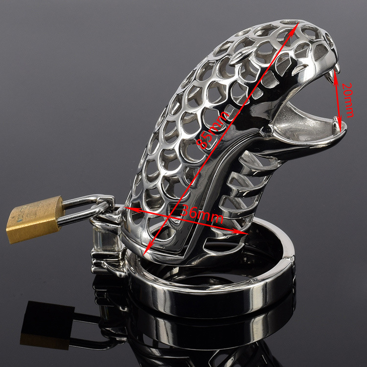 Stainless steel hollow cock cage Snake head opening penis
