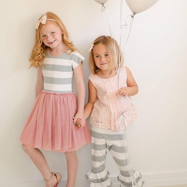 2018 new children clothing Toddler Girls Short Sleeve Tops Mini Dress Striped Princess Pleated Dress 4