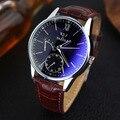 YAZOLE Analógico Em Aço Inoxidável relógios de Couro Relógios Homens Marca De Luxo À Prova D' Água Negócio Relógio de Quartzo relogios masculinos do Homem Ocasional