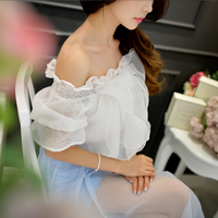 Dabuwawa White Off Shoulder Short Sleeve Bow Cototn Blouse
