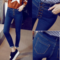 2016 nova moda-calça jeans cintura fina fino denim primavera feminino