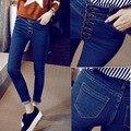 2016 nueva moda de la cintura delgada delgado denim jeans mujer primavera