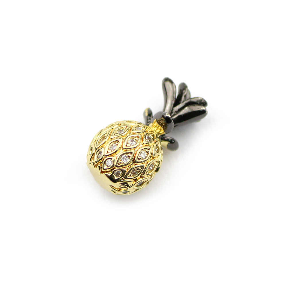 Btfbes 9*17 Mm Ananas Tembaga Manik-manik Liontin Gelang Putih Zircon Pesona Pengatur Jarak Manik-manik Longgar Perhiasan Gelang Membuat Diy nanas