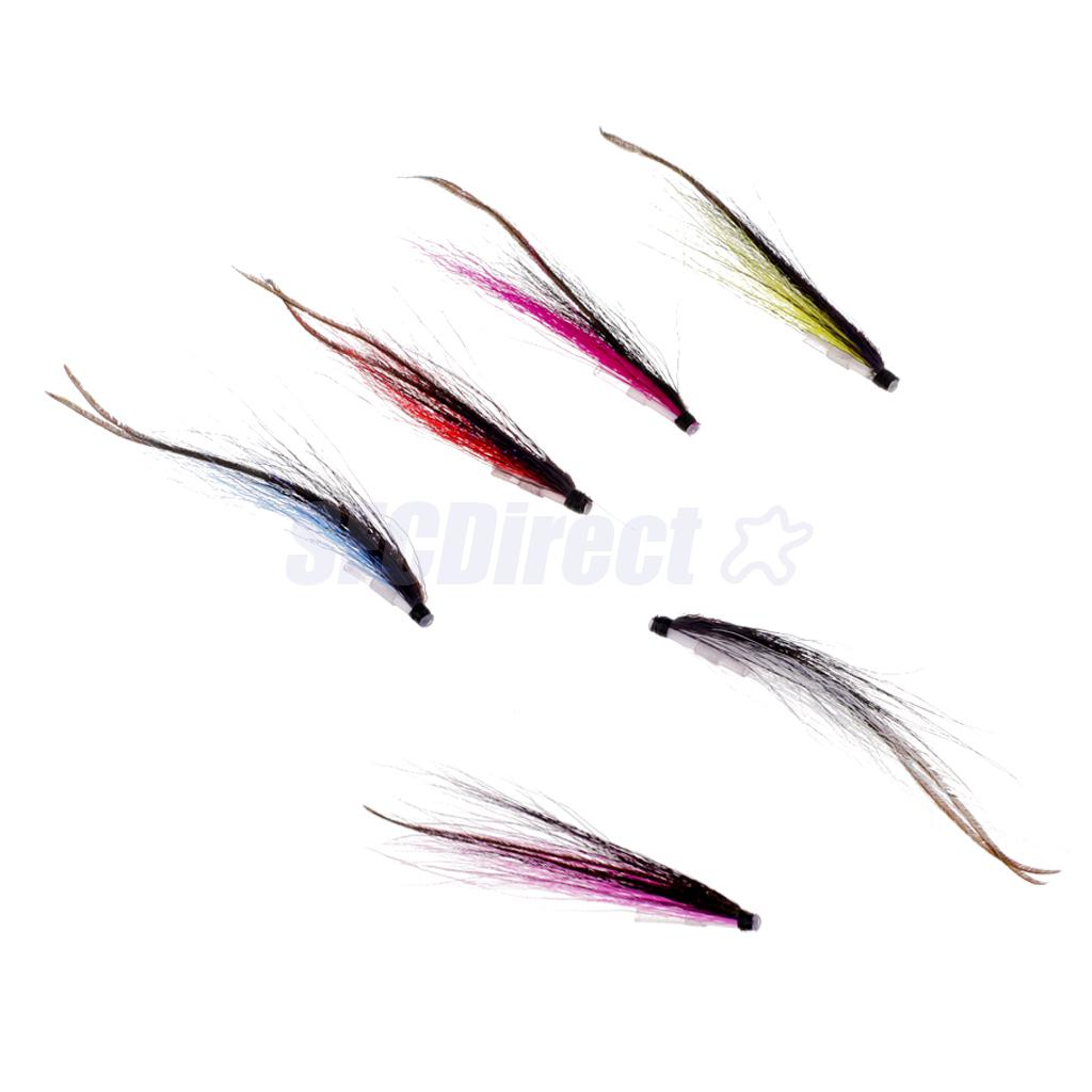 6Pcs Tube Fly Fishing Mini Sunray Shadow Riffle Hitch Salmon Flies Insects Fishing Tube Flies Lures 25mm/50mm